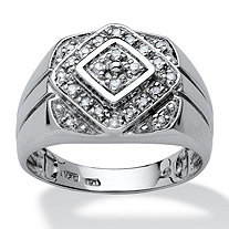SETA JEWELRY Men's 1/4 TCW Round Diamond Platinum over Sterling Silver Classic Ring