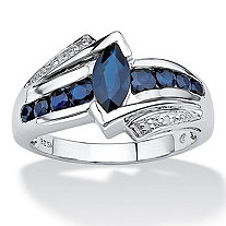 SETA JEWELRY 1.28 TCW Marquise-Cut Genuine Midnight Blue Sapphire Platinum over Sterling Silver Ring
