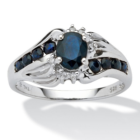 1.10 TCW Oval-Cut and Round Genuine Midnight Blue Sapphire Platinum over Sterling Silver Ring at PalmBeach Jewelry