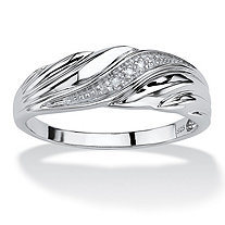 SETA JEWELRY Men's Diamond Accent Platinum over Sterling Silver Diagonal Swirl Wedding Band