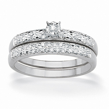 2 Piece 1/7 TCW Round Diamond Pave Bridal Ring Set in Platinum over Sterling Silver at PalmBeach Jewelry