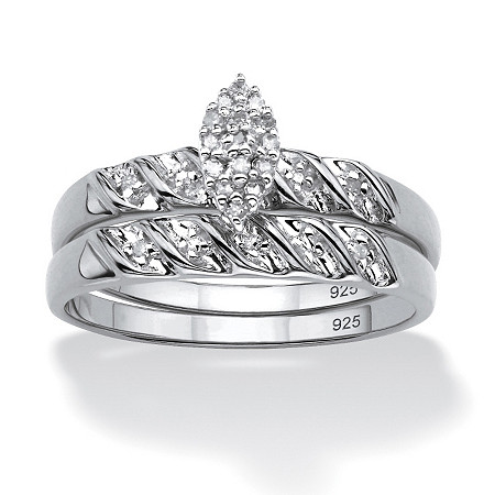 1/10 TCW Round Diamond Two-Piece Bridal Set in Platinum over .925 Sterling Silver at PalmBeach Jewelry