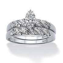 1/10 TCW Round Diamond Two-Piece Bridal Set in Platinum over .925 Sterling Silver