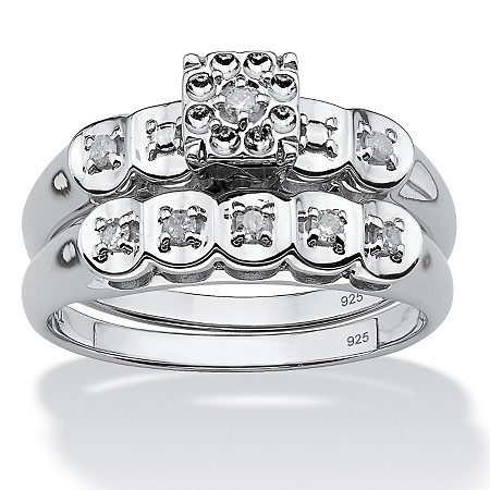1/8 TCW Round Diamond Two-Piece Bridal Set in Platinum over Sterling Silver at PalmBeach Jewelry