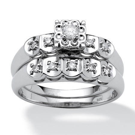 1/4 TCW Round Diamond Platinum over Sterling Silver Bridal Engagement Ring Set at PalmBeach Jewelry