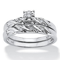 Diamond Accent Platinum over Sterling Silver Bridal Engagement Ring Wedding Band Set