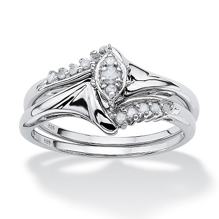 1/5 TCW Round Diamond Two-Piece Bridal Set in Platinum over .925 Sterling Silver at PalmBeach Jewelry