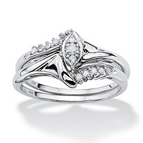 SETA JEWELRY 1/5 TCW Round Diamond Two-Piece Bridal Set in Platinum over .925 Sterling Silver
