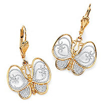18k Gold-Plated Two-Tone Filigree Butterfly Drop Earrings