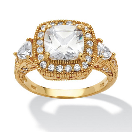 2.58 TCW Cushion-Cut and Trilliant-Cut Cubic Zirconia 18k Gold over Sterling Silver Ring at PalmBeach Jewelry