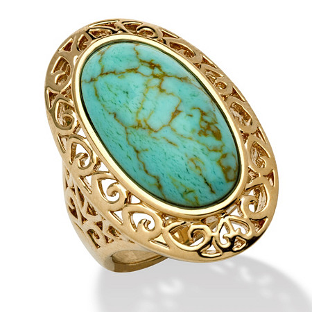 Oval-Shape Turquoise 18k Gold-Plated Filigree Ring at PalmBeach Jewelry