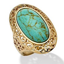 Oval-Shape Turquoise 18k Gold-Plated Filigree Ring