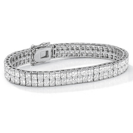 "6 TCW Princess-Cut Cubic Zirconia Silvertone Double-Row Tennis Bracelet 7 1/4"" at PalmBeach Jewelry"