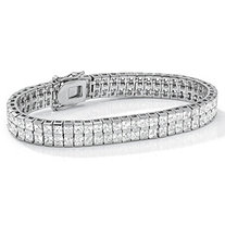 6 TCW Princess-Cut Cubic Zirconia Silvertone Double-Row Tennis Bracelet 7 1/4""
