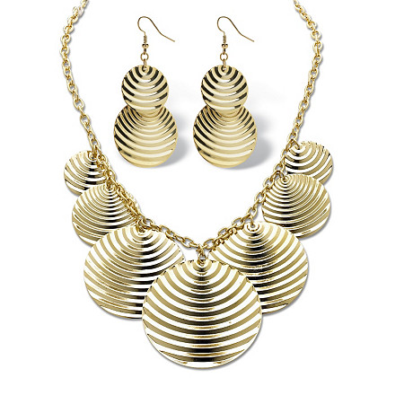 Textured Multi-Disk Bib Necklace and Drop Earrings Set in Yellow Gold Tone at PalmBeach Jewelry