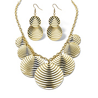 Textured Multi-Disk Bib Necklace And Drop Earrings Set ONLY $9.99