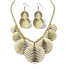 Related Item Textured Multi-Disc Bib Necklace and Drop Earrings Set in Yellow Gold Tone