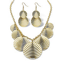 Textured Multi-Disk Bib Necklace and Drop Earrings Set in Yellow Gold Tone