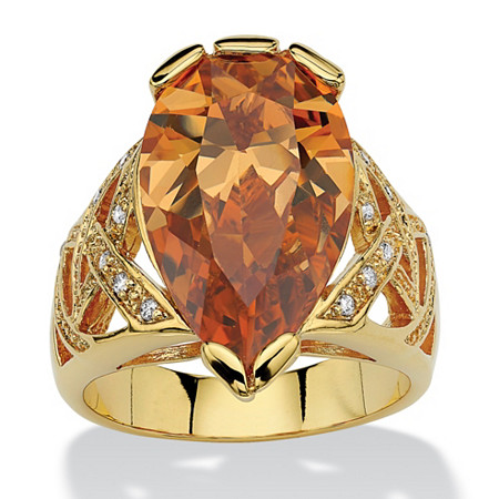 14.77 TCW Pear-Cut Champagne Cubic Zirconia Ring 18k Yellow Gold-Plated at PalmBeach Jewelry