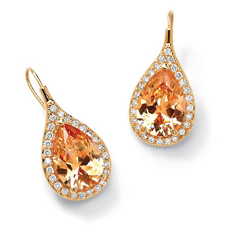11.60 TCW Pear Cut Champagne/White Cubic Zirconia 14k Gold-Plated Halo Drop Earrings at PalmBeach Jewelry