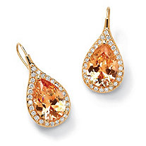 11.60 TCW Pear Cut Champagne/White Cubic Zirconia 14k Gold-Plated Halo Drop Earrings