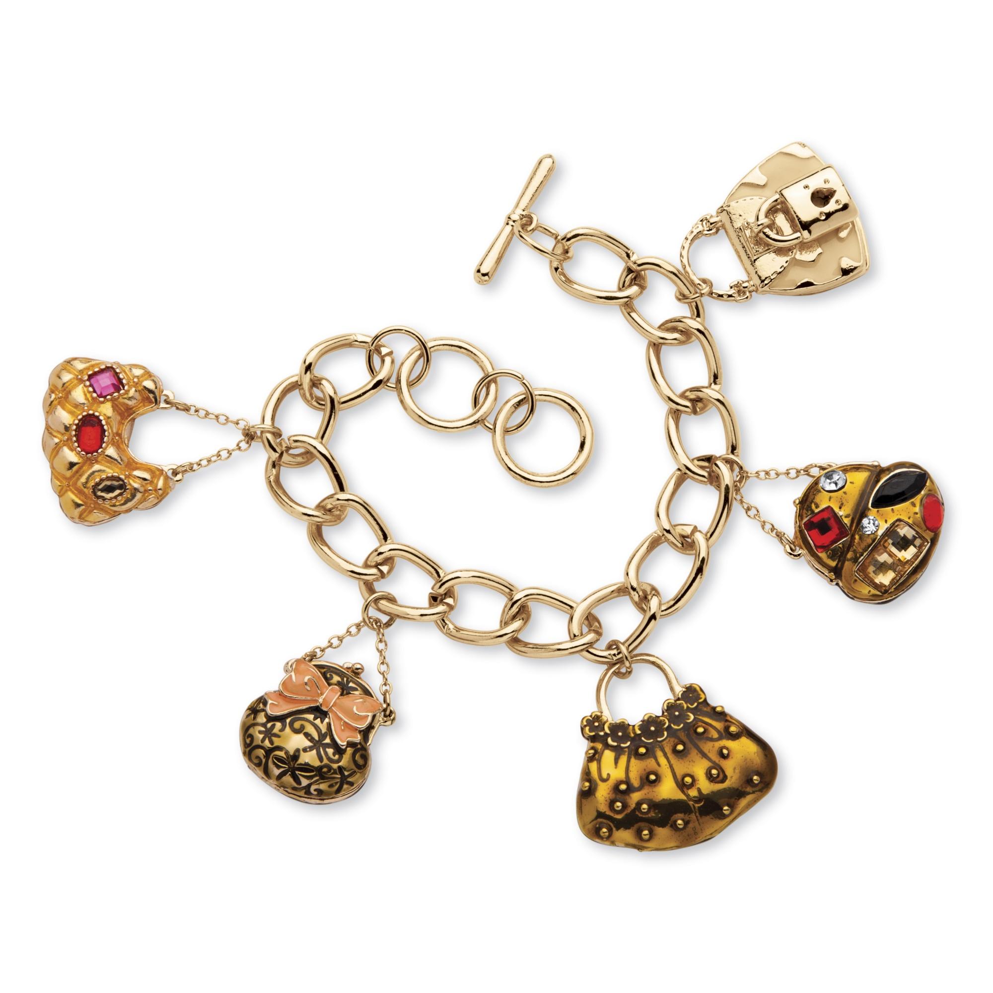 "Enamel Charms For Bracelets: Crystal ""Handbag Heaven"" Charm Bracelet In Enamel And"