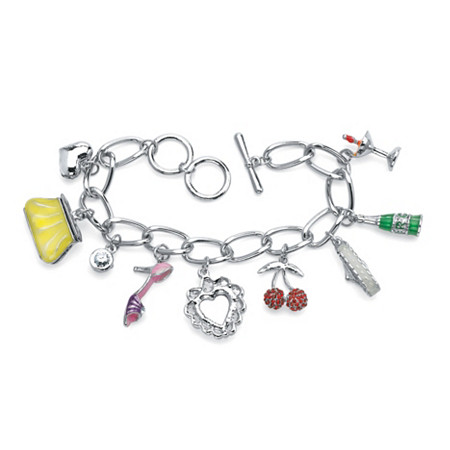 Round Crystal Silvertone Enamel Accent Uptown Girl Charm Bracelet 8