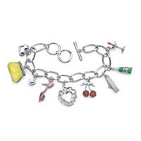 Round Crystal Silvertone Enamel Accent Uptown Girl Charm Bracelet ONLY $4.99