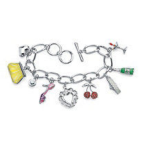 Round Crystal Silvertone Enamel Accent Uptown Girl Charm Bracelet 8""