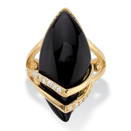 .16 TCW Genuine Onyx and Cubic Zirconia Ring Marquise Ring 18k Gold-Plated at PalmBeach Jewelry
