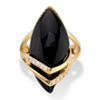 Related Item .16 TCW Genuine Onyx and Cubic Zirconia Ring Marquise Ring 18k Gold-Plated