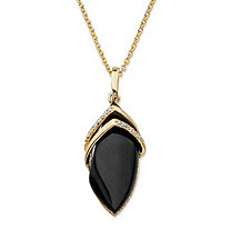 .15 TCW Marquise-Shaped Genuine Onyx and CZ Pendant Necklace 18k Gold-Plated 18""