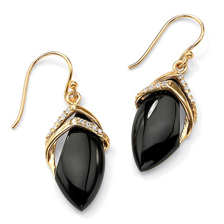 .16 TCW Genuine Black Onyx and Cubic Zirconia Marquise Drop Earrings 18k Gold-Plated at PalmBeach Jewelry