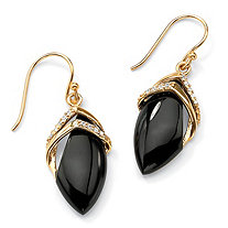 SETA JEWELRY .16 TCW Genuine Black Onyx and Cubic Zirconia Marquise Drop Earrings 18k Gold-Plated