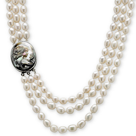 "Genuine Cultured Freshwater Pearl and Black Mother-Of-Pearl Cameo Triple-Strand Necklace 28"" at PalmBeach Jewelry"