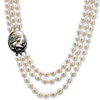 Related Item Genuine Cultured Freshwater Pearl and Black Mother-Of-Pearl Cameo Triple-Strand Necklace 28