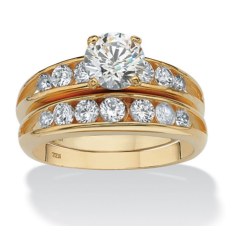 2.55 TCW Round Cubic Zirconia Two-Piece Bridal Ring Set in 18k Gold over Sterling Silver at PalmBeach Jewelry