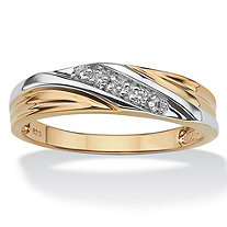 SETA JEWELRY Men's Round 18k Gold over Sterling Silver Cubic Zirconia Accent Wedding Band Ring