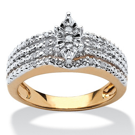 1/10 TCW Diamond 18k Gold over Sterling Silver Marquise-Shaped Engagement Anniversary Ring at PalmBeach Jewelry