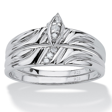 2 Piece Round Diamond Accent Bridal Ring Set in Platinum over Sterling Silver at PalmBeach Jewelry