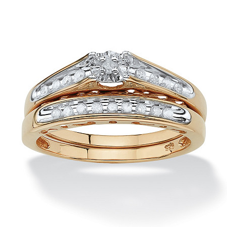 1/5 TCW Round Diamond Channel-Set Two-Piece Bridal Set in 18k Gold over .925 Sterling Silver at PalmBeach Jewelry