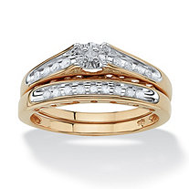 1/5 TCW Round Diamond Channel-Set Two-Piece Bridal Set in 18k Gold over .925 Sterling Silver
