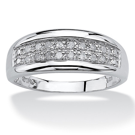 1/4 TCW Round Diamond Platinum over Sterling Silver Channel-Set Double-Row Anniversary Wedding Ring at PalmBeach Jewelry