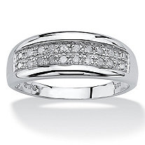 SETA JEWELRY 1/4 TCW Round Diamond Platinum over Sterling Silver Channel-Set Double-Row Anniversary Wedding Ring