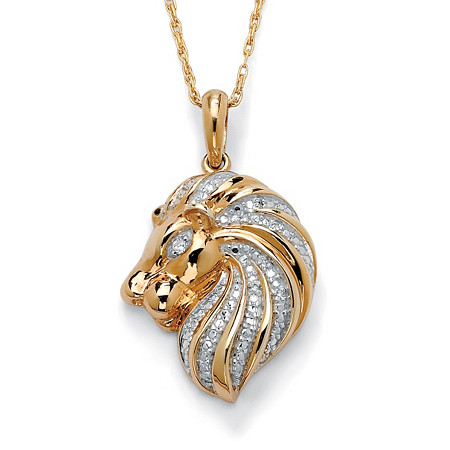 "Diamond Accent 18k Gold over Sterling Silver Lion Pendant and Chain 18"" at PalmBeach Jewelry"