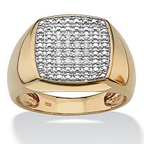 SETA JEWELRY Men's 1/10 TCW Diamond 18k Gold over Sterling Silver Cluster Ring