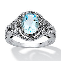 2.50 TCW Oval-Cut Genuine Blue Topaz and Diamond Accent Platinum over Sterling Silver Ring