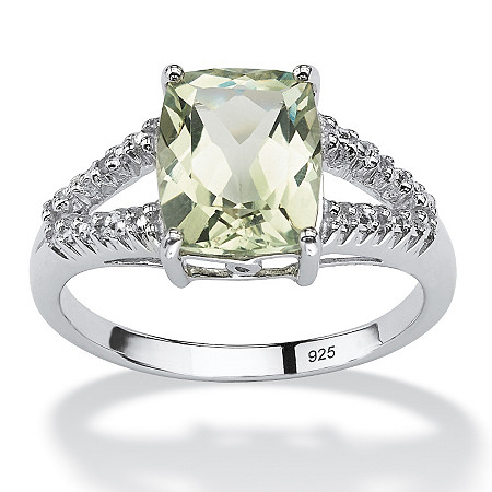2.32 TCW Genuine Green Amethyst and Diamond Accent Ring in Platinum over .925 Sterling Silver at PalmBeach Jewelry