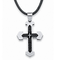 Men's Lord's Prayer Cross Pendant And Fabric Cord In Stainless Steel
