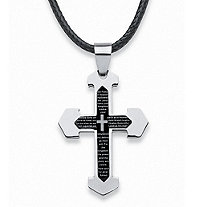 "Men's Lord's Prayer Cross Pendant and Fabric Cord in Stainless Steel and Black Ion-Plated 24""-27"""